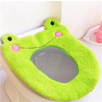 Cartoon warm cashmere Washable Bathroom Toilet Seat Cover Mat Lid Closestool Cloth Warmer Toilet Washable Cloth Seat Cover Pad