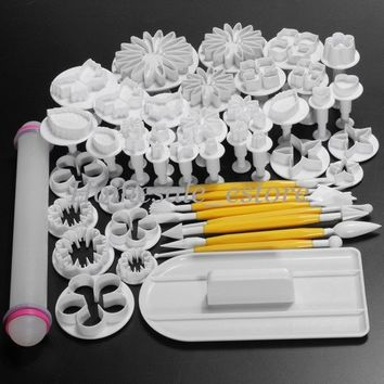 46Pcs Sugarcraft Cake Decorating Fondant Icing Plunger Cutters Tools Mold Mould