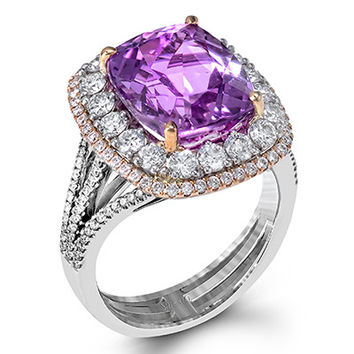 Simon G. Kunzite Ring Featuring a 6.88 Carat Cushion Cut Kunzite