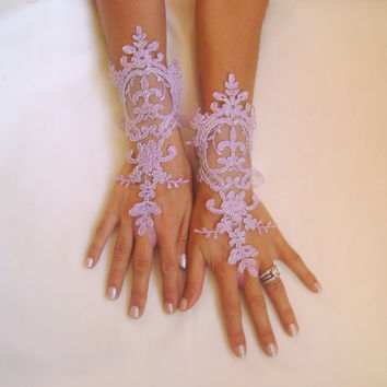 Unique Lavender  gloves lilac bridal gloves light purple fingerless lace gloves french lace  free ship silver frame