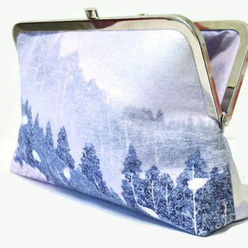 "Bridal Clutch Purse In Lilac, Blue, Pink And Ivory With A Cherry Blossom And Fir Tree Design, Clutch Bag Made From Japanese Silk 9"" x 5.5"""