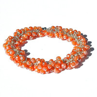 NEW Mystic Salmon Quartz Cluster Bracelet / Sterling Silver / Wire Wrapped / Gifts For Her / Peach / Orange / Apricot / OOAK