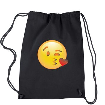 Color Emoticon - Blowing Kisses Smiley Drawstring Backpack