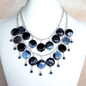 Beaded Necklace Blue Agate Bohemian Necklace by FiveLittleGems