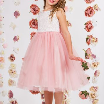 Girls Rose Pink Layered Tulle Dress w. Bridal Lace Bodice 2T-12
