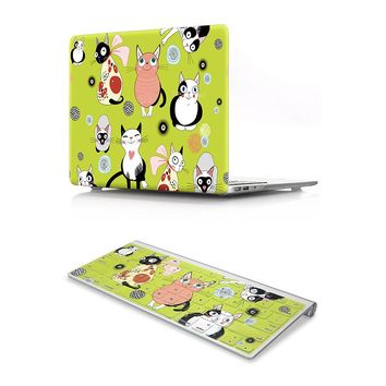 HRH 2In1 Cats Design Laptop Body Shell Protective Hard Case Matching Rubber Keyboard Cover For MacBook Air Pro Retina11 12 13 15
