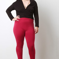 Solid Fleece Knit Leggings