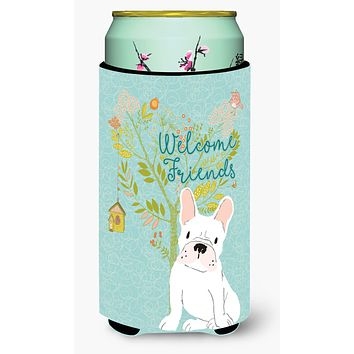Welcome Friends White French Bulldog Tall Boy Beverage Insulator Hugger BB7635TBC