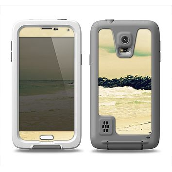 The Vintage Subtle Yellow Beach Scene Samsung Galaxy S5 LifeProof Fre Case Skin Set