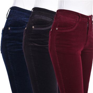 Free Shipping High Quality Women's Autumn And Winter Corduroy Flares Boot Cut Pants Lady's High Waist Bell Bottom trousers