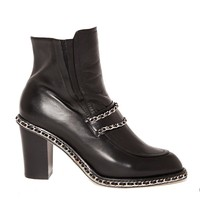 Chain leather boots