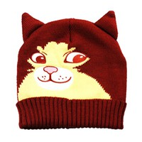 Cheeky Kitty Cat Face Shaped Animal Themed Knit Beanie in Maroon