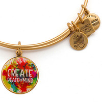 Alex and Ani Peace of Mind Bangle Gold Finish