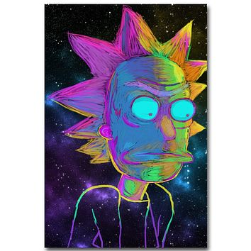 Rick and Morty Anime Art Silk Fabric Poster Print 13x20 24x36inch Cartoon Picture for Living Room Wall Decoration Gift 011