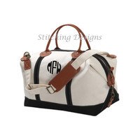 LARGE Monogram Canvas Duffle Bag,  Weekender, canvas satchel with BLACK or NAVY trim and leather handles