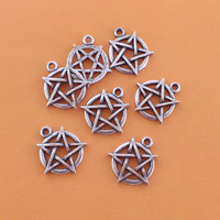 Pentagram Silver tone metal Charms - Assorted Jewelry Supplies SALE - Discount Clearance Destash