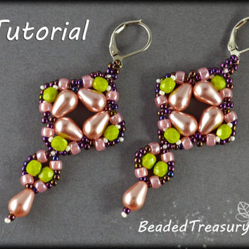 Dropleta - beadwoven earrings tutorial / Beading tutorial / Earring pattern / Bead pattern / TUTORIAL ONLY