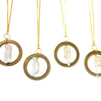 Karma Necklace, Quartz Crystal Pendant, Brass Jewelry, Eternity Circle Ring Necklace
