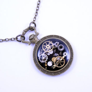 As Seen at GBK's 2015 MTV Movie Awards Gift Lounge Steampunk Necklace Brass Pendant made with real recycled watch parts One of a kind Gift