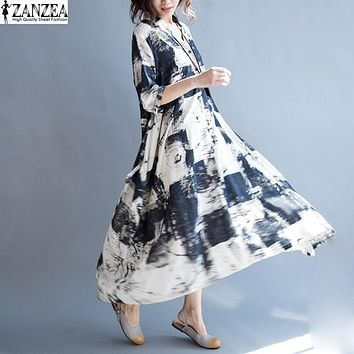 Vintage Vestido 2017 ZANZEA Women Cotton Linen Floral Printed Dress Oversized Ladies Summer Short Sleeve Shirt Party Long Dress