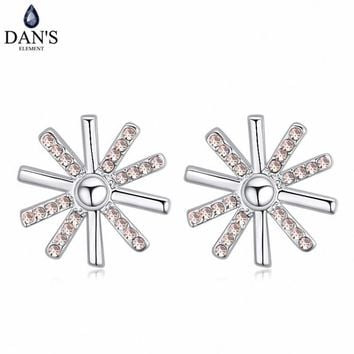 DAN'S 5 Colors Real Austrian crystals Stud earrings for women    Earrings s New Sale Hot  Round 120703