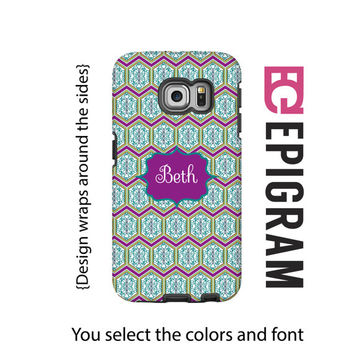 Boho Samsung Galaxy S6 Edge case, personalized Galaxy S6 case, purple Galaxy S5 case, Galaxy S4 case, 3D wrap around case, 3D galaxy case