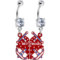Clear Gem Heart Anchor Best Friends Dangle Belly Ring Set | Body Candy Body Jewelry