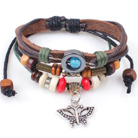 Cool Cottage Chic Dark Brown Leather Cord Bracelet with Butterfly Charm