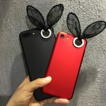 diamond luxury lace rabbit ears phone cases for iphone7 6 plus iphone7 silicone soft cover all-inclusive lanyard