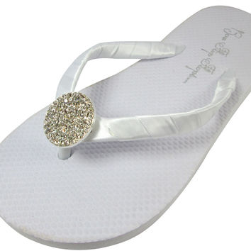 Wedding Round Jewel White Flip Flops for the Bride and Bridesmaids