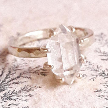 Solid Gold Herkimer Diamond Quartz Crystal Ring - Solid Gold Ring - Large Crystal Engagement Ring - Rough Crystal Ring - Raw Stone Ring