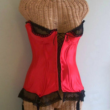 Vintage Late1970's Red Spandex and Black Lace Boned Corset with garters