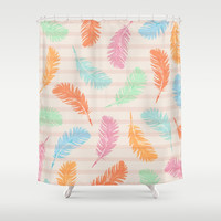 Dancing summer feathers Shower Curtain by juliagrifoldesigns