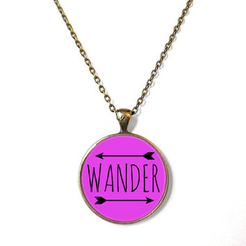 Purple Wander Necklace - Funny Pop Culture Arrow Jewelry - Motivational and inspirational Wanderlust Jewelry with Small Arrow