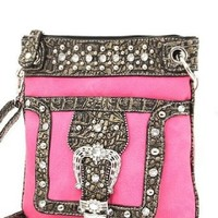 Hot Pink Western Rhinestone Buckle Crocodile Hipster Cross Body Purse