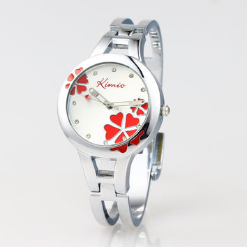 Hot Sales! Kimio Fashion Brand   Dress Ladies Bracelet Watches for Women Diamond Jewel Lucky Clover Stainless Quartz Watches