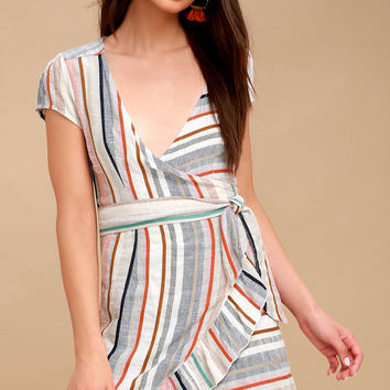 Wrap It Up Multi Stripe Wrap Dress
