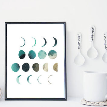 Moon phase art print, watercolor moon print, home wall decor, apartment wall art, modern print, moon poster, simple, gift