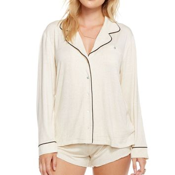 CHASER - Women's Intimates Long Sleeve Glitter Sleepshirt with Piping