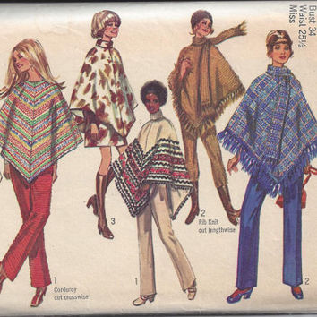 Simplicity 8932 Pattern for Misses' Lined Poncho or Cape, Mini-Skirt, & Pants, Size 12, From 1970