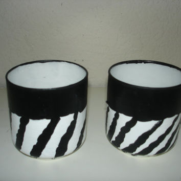 Zebra print Pair of small hand painted orginal drinking glasse's 6oz