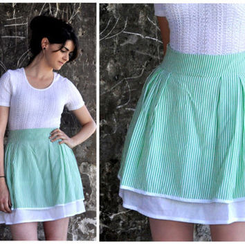 20% OFF Green Candy stripe skirt. Retro inspired mini skirt.summer skirt.striped high waist skirt.