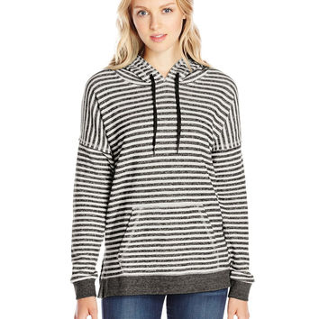 Volcom Junior's Lived In Stripe Pullover Hoodie, Black, Large