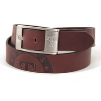 Texas Rangers MLB Men's Embossed Leather Belt (Size 34)