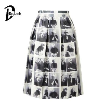 DayLook Summer Pleated Skater Skirt Vintage Monroe Print Tutu Midi Skirt Elegant Knee-Length Plaid Skirts Womens Saia Faldas
