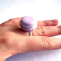 French Macaron Ring French Macaroon Ring - CHOOSE YOUR COLOR - Kawaii Macaron Cookie Ring Polymer Clay Miniature Food Jewelry