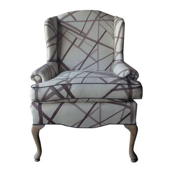 Pre-owned Vintage Wingback Chair in Kelly Wearstler Fabric