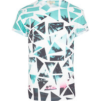 River Island MensBlue broken glass palm print t-shirt