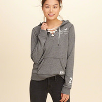 Lace-Up Graphic Hoodie