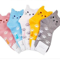 Women's Cute Candy Color Cartoon Cat Footprints Sock